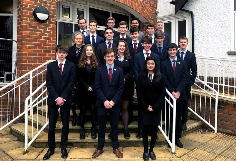 Students from Dr Challoner's Grammar School marking successful applications to Oxford & Cambridge universities with Dan Colquhoun (Director of Sixth Form) and David Atkinson (Headmaster).