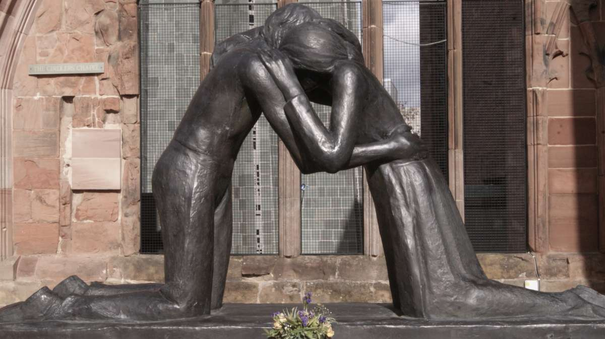 The statue <em>Reconciliation</em> by Josefina de Vasconcellos